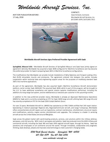 Worldwide Aircraft Services signs Preferred Provider Agreement with Saab 26 July 2018
